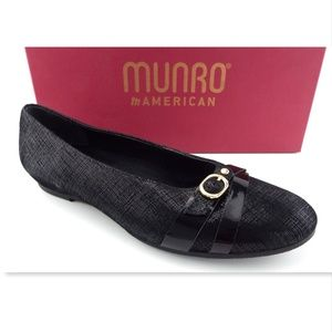New MUNRO Black Textured Leather Ballet Flats 9.5